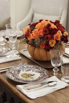 "Jenny Steffens Hobick: DIY Thanksgiving Centerpiece | Roses, Mums & Broom Cob in a Pumpkin ""Vase"""