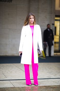 pink and white lab coat