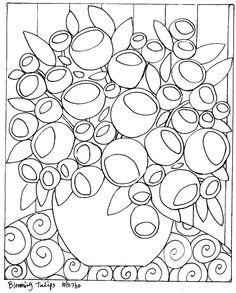 RUG HOOKING PAPER PATTERN Blooming Tulips ABSTRACT FOLK ART Karla G | eBay