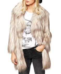 Imitated Fur Gradient Color Coat