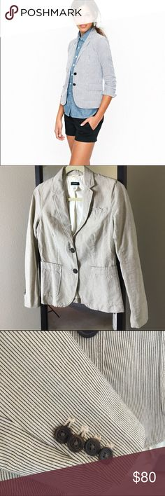 J. Crew Schoolboy Blazer in Seersucker Worn once. Excellent condition. Full length sleeves can roll up for more casual style. Two front button closure. Great lighter weight blazer for the summer J. Crew Jackets & Coats Blazers