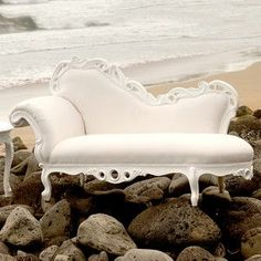 Love & want! Pretty white & cream chaise lounge!