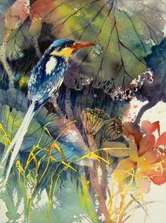 birdWc Watercolor Artists, Watercolor Bird, Watercolor Animals, Watercolor Landscape, Watercolor Paintings, Watercolors, Watercolor Portraits, Abstract Paintings, Bird Drawings