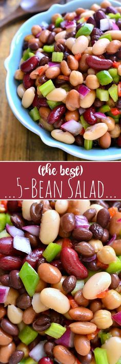 This 5-Bean Salad combines black, pinto, garbanzo, cannellini, and kidney beans with green peppers, pimentos, and red onions in a sweet dressing that ties it all together in the most delicious way!