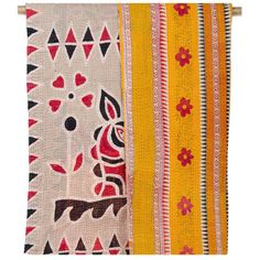 Vintage Kantha Throw Blanket - Hearts of Fire