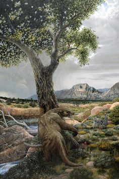 Shasta Ground Sloth in Red Rock Canyon during the Pleistocene Era by Bradley W. Giles                                                                                                                                                                                 More