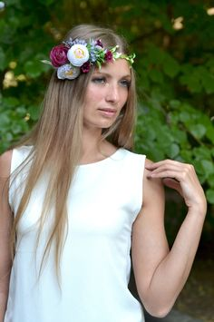 Flower crown bridal Headband flowers Burgundy white crown Wedding flower crown Boho hair piece flower Halo white purple head wreath ready to ship   Burgundy roses in combination with purple and white ranunculus will look great on light hair and dark. This composition is perfectly contrasted. Perfect for fall wedding day in boho or rustic style. Wreaths size is controlled by the satin ribbon. You can choose any other color ribbon on request.  This flower crown perfect for brides, bridesmaids…
