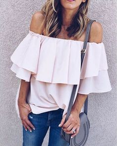 Ruffles girl-ify this top without taking away its subtle beauty. Soft Breeze Frilling Off-shoulder Top in Pink (Item number: T20160628014) featured by Cellajane Blog