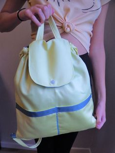 Rucksack Backpack, Drawstring Backpack, Beige Backpacks, Yellow Backpack, Japanese Knot Bag, Yellow Birthday, Floral Shoulder Bags, Daisy Pattern, Draped Fabric