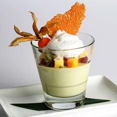 Thai Basil Pana Cotta - served with coconut foam, tropical fruits, and coconut tuile