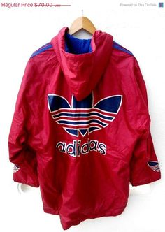 vintage Adidas jacket windbreaker Big logo button down large size 34dWEfZcKl
