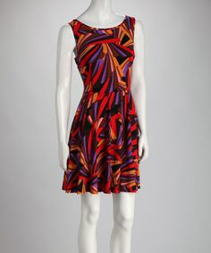 Take a look at this Red & Purple Abstract Dress by Ice Silk on #zulily today! $20 !!