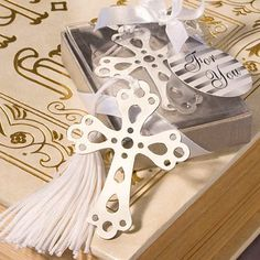 Silver Cross Bookmark Favor by Beau-coup