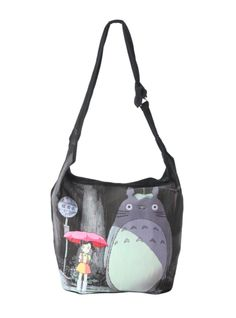 Hobo style bag from My Neighbor Totoro with a rainy bus stop design.
