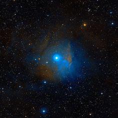 Nebulosa vdB 38 (Sh2-263). Nebulosa de emisión-reflexión en la constelación de Orión,  cerca de la estrella Bellatrix (γ Orionis), cumbre del rectángulo de la figura de Orión; la estrella responsable de la iluminación del gas es HD 34989, una estrella azul-blanca. La nube se divide en una parte azul que brilla por el reflejo de la luz de la estrella, y una parte rojiza del fondo. La nube de gas forma parte de la vdB 38 que no se ilumina y aparece como una nube oscura LDN 1588 (B223).