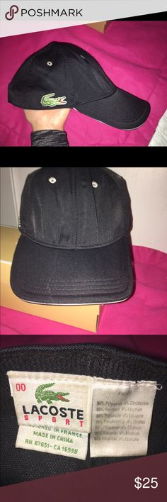🐊🐊🐊Men's Black Lacoste Cap🐊🐊🐊 Black Men's Lacoste Hat, been in my husbands closet for a long time, has fold marks in the front as the second photo indicate but over all good condition. Lacoste Accessories Hats