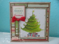 Christmas tree copic card with October Afternoon paper.