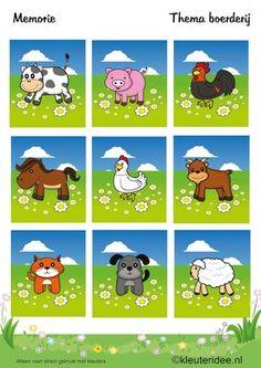 Memorie , thema boerderij, kleuteridee , Preschool game, farm theme, free printable.