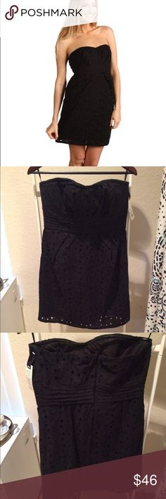 """BB Dakota Black Eyelet Strapless Dress NWT BB Dakota """"I Only Have Eyelet for You"""" Black Eyelet Strapless Dress. Never worn. Perfect condition. Fabric has almost no stretch to it, so busty girls beware. Very cute dress you can wear to something casual or dressed up with a statement necklace and heels, it would be perfect for a wedding or a hot date. 100% cotton. Zip back closure. Lightly padded. Pleated waist detail. BB Dakota Dresses Strapless"""