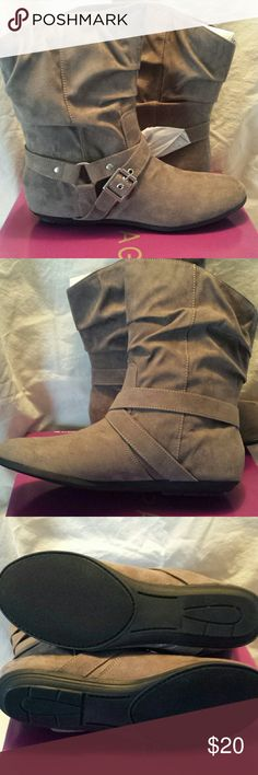 *NWT* RAMPAGE FLAT BOOTS, SLIP ON GORGEOUS NEW, STILL IN BOX, RAMPAGE, 8 1/2 MED, GREYISH/BROWN SHADE, NO HEEL Rampage Shoes Ankle Boots & Booties