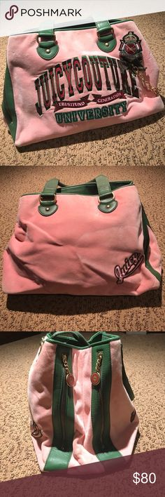 Juicy Couture Duffel Bag Velour Juicy Couture bag that is great to travel with! Has a lot of storage with a large center pocket. Barely used! Juicy Couture Bags Totes