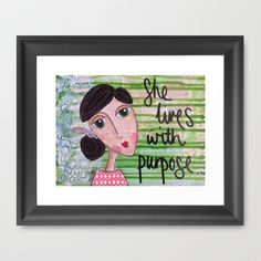 Coco's Closet- She Lives with Purpose Framed Art Print by Coco's Closet - $36.00