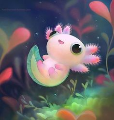 The most kawaii axolotl Cartoon Mignon, Art Mignon, Dibujos Cute, Kawaii Drawings, Cute Animal Drawings Kawaii, Ink Drawings, Cute Creatures, Cute Baby Animals, Cute Cartoon Animals