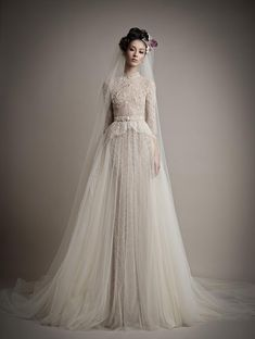 2015 Ersa Atelier New Wedding Dresses With Detachable Train Tulle Skirt Wedding Gowns 3/4 Sleeve High Neck Lace Beaded Detail Wedding Dress