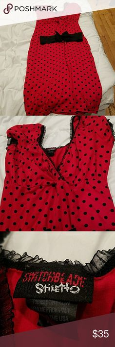 Like New pinup polka dot dress Like New pinup polka dot dress worn once for my bridal shower size medium belt did not come with it I bought it separate I'm 5'2 and dress comes to top of calf .Adorable Switchblade Stiletto Dresses
