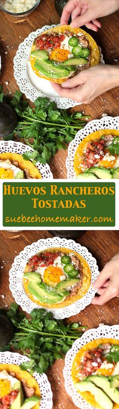 Huevos Rancheros Tostadas is a classic Mexican dish, made with pinto beans, sunny side up eggs, cojita cheese, avocado slices, and a spoonful of salsa!