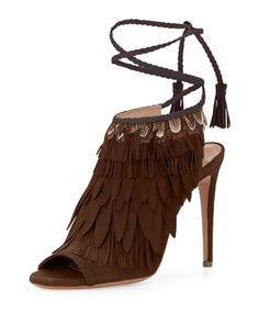 Fringed Suede Ankle-Tie Sandal by AQUAZZURA at Bergdorf Goodman.