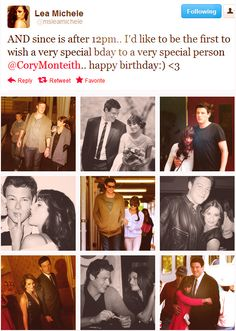 Aww Lea's tweet to Cory for his birthday!! so cute! #monchele