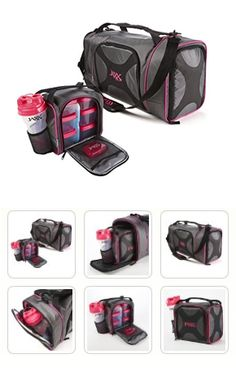 Jaxx Dual Pack with Insulated Duffel and Portion Control Containers (black/pink) - great for transporting food, snacks and lunch to and from workouts, the beach, tailgating and potluck parties, picnics and more!