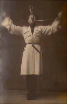 Mysterious Russian Circus Knife Thrower Dangerous Performance Original RARE 1900s Spanish Real Photo Postcard by Manuel Compañy from Madrid!