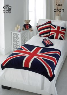 Knitting Pattern for Throw, Cushion Cover, Hot Water Bottle Cover and Teddys Sweater all with Union Jack Design - Very patriotic Knitted Throw Patterns, Knitting Patterns, Knitting Ideas, English Style, My New Room, My Room, One Direction Room, Union Jack Decor, Water Bottle Covers