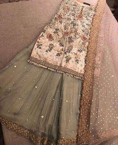 Pakistani dress/ partywear/ desi dresses/ indian dress Beautiful 3 piece kameez with pallazzo style pants. Pakistani Wedding Outfits, Pakistani Wedding Dresses, Pakistani Dress Design, Bridal Outfits, Indian Dresses, Indian Outfits, Emo Outfits, Maria B, Desi Clothes