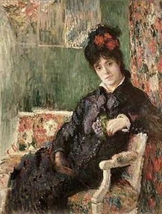 "Painting by Claude Monet, 1877, ""Camille Holding a Posy of Violets,"" or ""Portrait"" Camille Doncieux Monet (1847-1879). Camille became ill after the Hoschedés family came to live with the Monets. Much of the money that Monet had made on the sale of his paintings paid for her medical care. The birth of the couple's second child in 1877 weakened her already fading health."