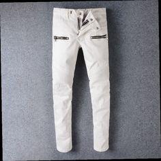48.59$  Watch here - http://aliyol.worldwells.pw/go.php?t=32756931824 - Hi-Street Mens Denim Biker Cargo Jeans Brand Design Mens Stretch Skinny Moto Pencil Jeans Runway Distressed Motorcycle Jeans Men 48.59$