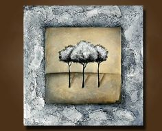 ORIGINAL Art Painting of Three Trees Heavily by BrittsFineArt, $250.00
