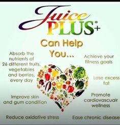 Juice Plus Benefits!! For more information contact me! Brigette.Riebe@gmail.com