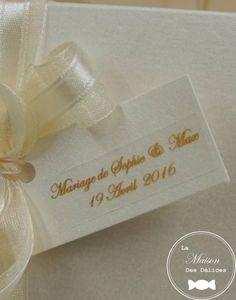 etiquette rectangle ivoire nacre parfaite pour accessoiriser un ballotin drages mariage baptme ou - Etiquette A Dragee Mariage