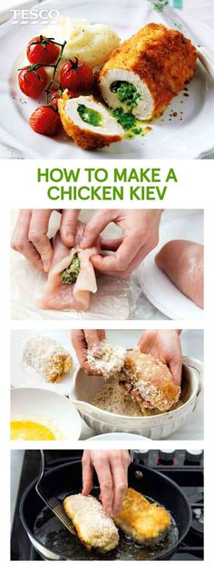 This retro-classic chicken kiev recipe, crisped to perfection and oozing garlic butter, is a mouthwatering supper.   Tesco