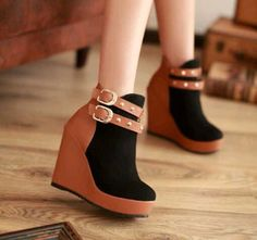 Black and brown belted shoes