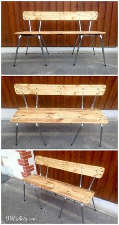 Old Chairs Turn into Pallets Bench is part of Repurposed furniture Pallets - This DIY pallet and metal double chair bench would be all be fantastic and highly unique piece of pallet furniture to do so and it does not cost also too Diy Furniture Chair, Diy Pallet Furniture, Diy Pallet Projects, Diy Chair, Repurposed Furniture, Furniture Projects, Furniture Makeover, Home Furniture, Chair Bench