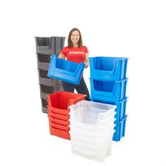 These large stacking bins are available in a choice of cost effective recycled plastic or virgin polypropylene. Manufactured from Blue, Clear, Red virgin polypropylene. Stack with opening to front or rear for dual sided access. Van Storage, Kids Storage, Plastic Storage, Storage Bins, Storage Solutions, Storage Ideas, Garage Shelving, Garage Storage, Stacking Bins
