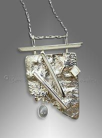 Reticulated sterling silver pendant with silver moonstone