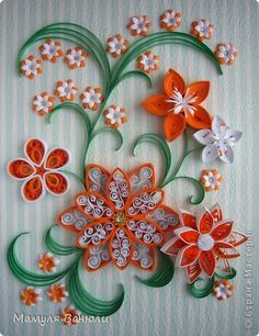 Картина, панно Бумагопластика, Квиллинг: Оранжевая фантазия Бумага, Бумажные полосы День рождения. Фото 1