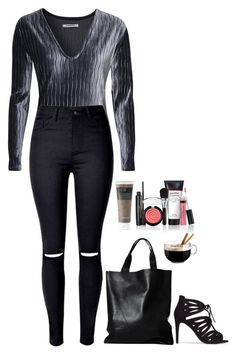 """Miss dark"" by eellcat ❤ liked on Polyvore featuring Glamorous, London Edit, Nly Shoes, Primera, Laura Geller and Luminarc"