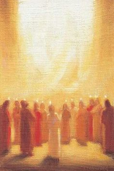 "Pentecost  (Acts 2:1-21) 2:3-4 ""And there appeared to them tongues as of fire distributing themselves, and they rested on each one of them. And they were all filled with the Holy Spirit and began to speak with other tongues, as the Spirit was giving them utterance."" Painting by Ladislav Záborský"