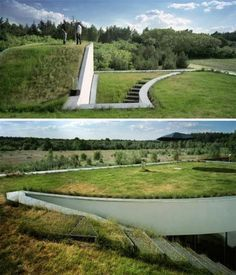 Underground homes tend to conjure mental images of hobbit holes and otherwise rounded, earthen residences. This extremely modern house by KWK Promes defies popular conventions and, despite its organic green roof, is constructed of clean lines and clear shapes.